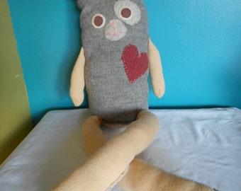 Large repurposed sweater, grey stuffed bunny