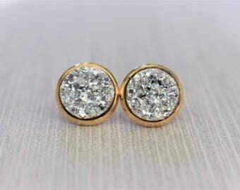 Silver Druzy Earrings - Druzy Stud Earrings - Gold and Silver Earrings - Gold Stud Earrings - Druzy Jewelry - Sparkle Jewelry - Jewelry Gift