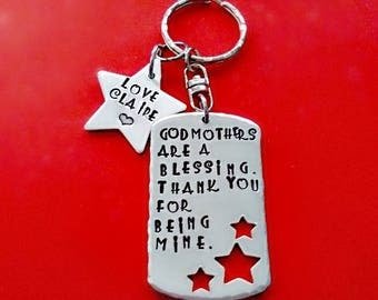 Personalized Godmother Keychain, Hand Stamped Godmothers are a Blessing Thank You for being Mine Ours, Engraved Fairy Godmother Jewelry