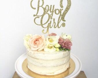 Boy or Girl Cake Topper-Baby Shower-Glitter Cake Topper-Gender Reveal Party- He or She Shower Cake Topper