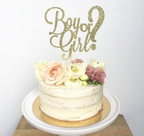 Boy Or Girl Cake Topper Baby Shower Glitter Cake Topper Gender Reveal  Party  He Or She Shower Cake Topper From ConfettiCrownDesign On Etsy Studio