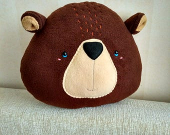 Bear Pillow - Bear Head - Kids Decor - Animal Pillow Handmade