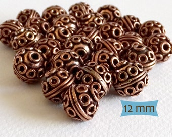 Large Bali Style Rope and Coil Copper Beads--5 Pcs | 27-CM255-5
