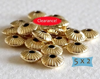 Gold Filled Corrugated Saucer Beads--2 Pcs    CM300-2