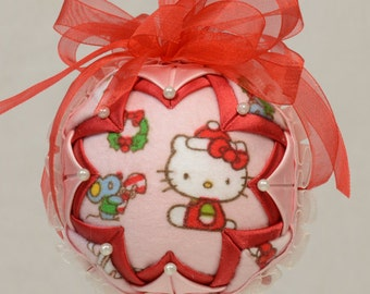 Hello Kitty Quilted Ornament, Pink and Red Hello Kitty Ornament, Hello Kitty Christmas Ornament