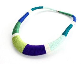 Fiber necklace, Statement necklace textile jewelry green necklace blue necklace, mint necklace tribal handmade colorful necklaces