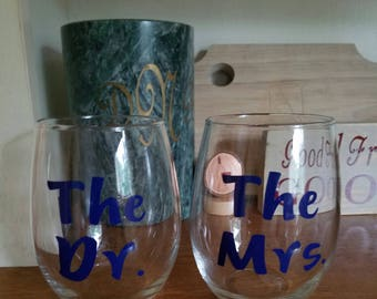 The Dr. The Mrs., Doctorate Gift, Doctorate Graduation Gift, Doctorate Wine Glass, Ed.D, Ph.D, Doctor Gift, Doctorate Graduate Gift, Dr. DNS