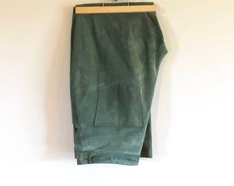 Vintage Lew Magram Olive Green Suede Leather Pants