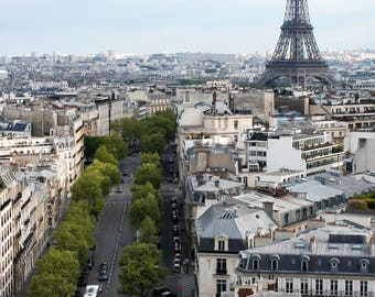 Paris, Skyline, Eiffel Tower, France, Travel Photography, Flowers, Spring, Purple, Home Decor, French, Fine Art Prints, Wall Art, Europe