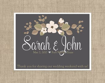 "4"" x 3""  Personalized Welcome Box Labels -  30 Wedding Welcome Bag Labels - Wedding Favor Labels - Welcome Stickers - Box Stickers - Gray"