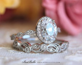 220 cttw art deco bridal set ring oval halo engagement ring w - Sterling Silver Diamond Wedding Ring Sets