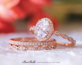 2.97 ct.tw Milgrain Art Deco Bridal Set Ring-Engagement Ring-W/ Mixed Eternity Band Ring-Rose Gold Plated-Sterling Silver [65359RG-3-1]