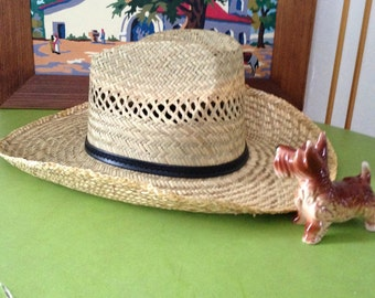 Vintage Hat Cowboy Hat Straw Hat Country Western Sun Hat Medium Perforated Designs Cooling Hat Southwestern Style Hat Country Western Hat