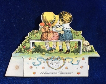 "1930's Bulldog Valentine ""To My Love""  Beautiful Period Illustration"