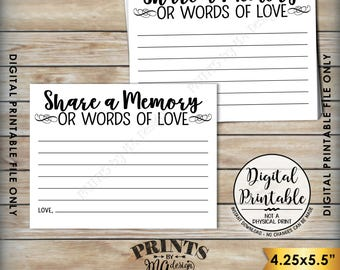 "Share a Memory Card, Share Memories, Write a Memory, Please Leave a Memory, Memorial Card, Graduation, 8.5x11"" Printable Instant Download"