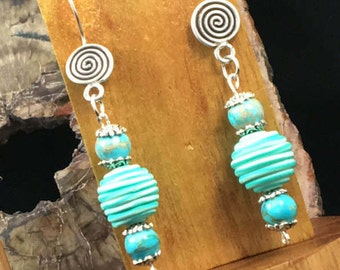 Handmade, beaded, Earrings, The Turquoise Collection,  Stripes
