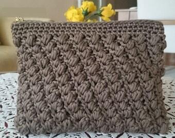 crochet clutch bag soft brown zipped clutch macrame crochet bag moms gift aunt gift gold silver zipper variation casual bag for wife gift