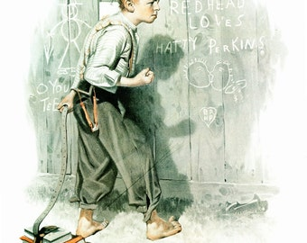 Red Head Loves Hatty Post Cover, painted by Norman Rockwell 9/16/1916. The page is approx. 11 1/2 inches tall and 15 inches wide