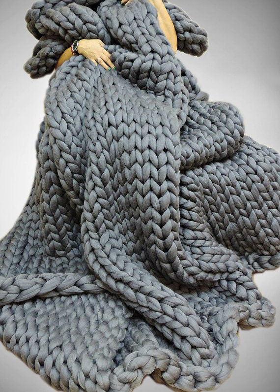 Super chunky blanket chunky knit blanket chunky by for How to make a big chunky knit blanket