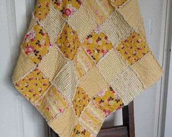 Baby Rag Quilt/Blanket/Riley Blake Vintage Daydream in Gold/Handmade