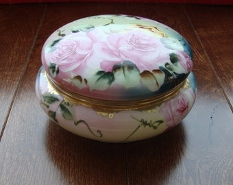 Antique Nippon Hand Painted Porcelain Trinket Box - Maple Leaf Backstamp from late 1800's - Large Pink Roses with Leaves and Vines