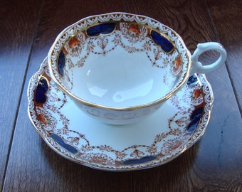 Beautiful and Rare CL Oxford China England - Vintage Tea Cup and Saucer - Rust Color Swags with Cobalt Blue and Gold
