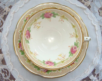 Vintage Collingwoods Tea Cup and Saucer - Pink Roses on a Brown Wicker Band with Gold Trim