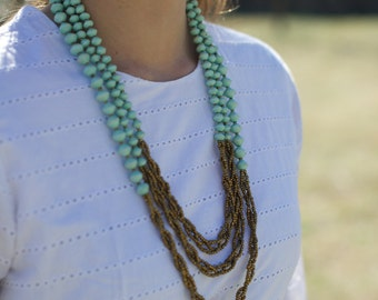 CHARITY-*more colors*- Long Layered Triple Strand Recycled Paper Beads & Braided Gold Strands Ugandan Necklace- Spring