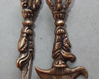 Two Buddhist Protector Brass Amulets Ritual Object Pendants from Nepal, Tibetan Jewelry, FREE SHIPPING