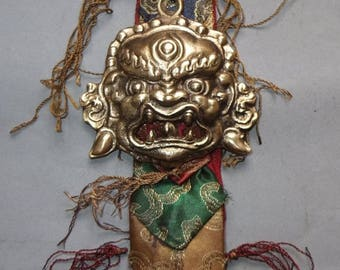 Large Brass Demon Amulet on Fabric from Nepal, FREE SHIPPING