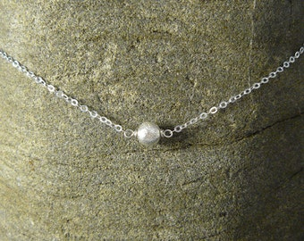 NEW: brushed silver ball chain with silver pendant necklace, fine silver chain, layering necklace, necklace with ball silver choker