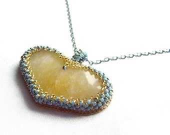 Heart necklace Onyx necklace Yellow necklace Mothers day gift Gift for mother Gift for wife For her Romantic gifts Turquoise gold necklace