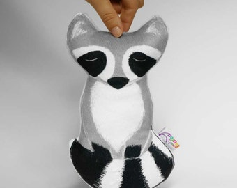 Raccoon decorative pillow - raccoon stuffed animal - woodland nursery - baby first gift - christmas gift for baby - kids room decor