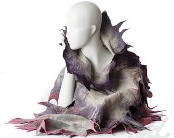 Shawl / Wings shawl / Silk Scarf  / Nuno felting Shawl /  Handmade Selted  / Merino Wool // Free shipping.
