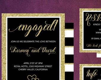 Black and Gold Wedding Invitation Set,  Printable Invitations, Black and white Wedding Invitation Set, Gold and White, S-027