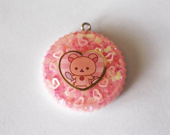 Pink Sparkly Korilakkuma Resin Charm, Resin Pendant, Resin Jewelry, Resin Cellphone Strap, Resin Keychain