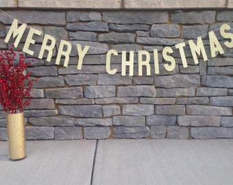 MERRY CHRISTMAS BANNER   Gold Glitter Merry Christmas Banner   Merry Christmas Sign   Christmas Garland   Merry Christmas Photo Sign