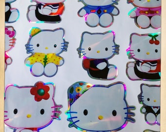 Hello Kitty Japanese Animation Large Packet Of 18 Laser Prism Stickers Scrapbooking Decoration Craft