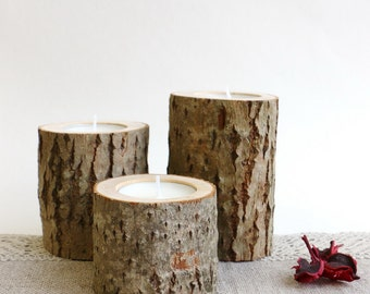 Log candle holder, Rustic candle holder, Wood tealight holder, Wooden candle holder, Rustic decor, Rustic wedding decor, Woodland baby