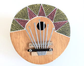 Vintage Kalimba Mbira African instrument, thumb piano, Colorful pattern, coconut shell