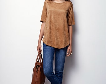 Camel Tunic, Suede like perforated tunic, shirt with holes - Alex- Camel