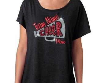 Cheer Shirt. Megaphone Cheer Shirt. Cheerleader Shirt. Off shoulder shirt. School Cheer Shirt. Cheerleader Mom. Triblend Dolman Sleeve Shirt