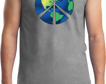 Men's Peace Shirt Blue Earth Muscle Tee T-Shirt BLUEEARTH-2700