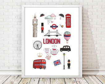 London print,london nursery print,wall art print,wall art decor,nursery decor,big ben print,modernist art,4 SIZES INCLUDED