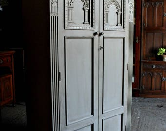 FOR SALE  Richly Carved Late Edwardian 'French Painted' Oak Wardrobe