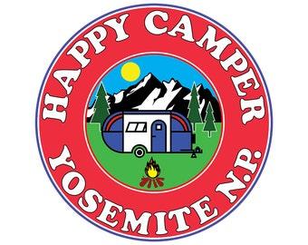 Vinyl Sticker Happy Camper Yosemite National Park Mountains Decal