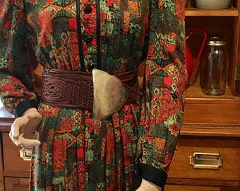 Vintage Winter Dress-70s Dress-Knee Length Winter Dress-Long Sleeve Dress-Free Postage Australia-Autumn Dress-Size 12 Dress