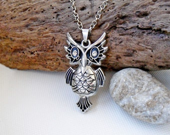 Owl necklace crystal inlay, stainless steel owl, medallion wisdom, mascot owl necklace, womens necklace owl crystal, pendant mens owl chain,
