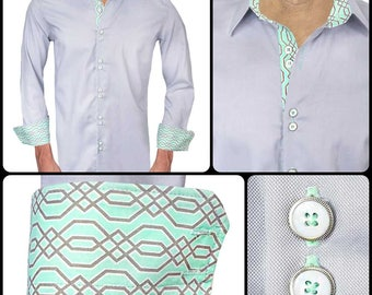 Gray with Teal Men's Designer Dress Shirt - Made To Order in USA