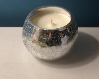 Fragranced Soy Candle, Silver Crackled Effect Designer Bespoke, Jo Malone, 300ml, Lime Mandarin Basil or Lemongrass Essential Oil